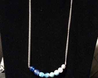 Blue gradient beaded necklace