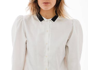 Vintage 80s Black Collar White Shirt