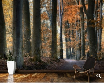 FOREST WALL MURAL, trees wall mural, fog forest mural, forest mural, self-adhesive , pine wall mural, vinly wall mural, forest wall decal