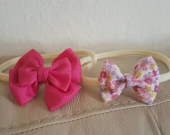 SET of Two Headbands Flower and Pink