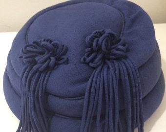 Oglivie Navy Blue Pillbox Hat. Made in Brisbane Australia.
