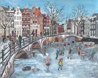 Skating on the canals of Amsterdam, original pencil and acrylic, print, 21 x 24 cm