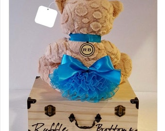 Ruffle Bottoms Monogrammed Baby Keepsake Box in Turquoise   (FREE SHIPPING!)
