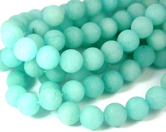 "Two 15.5"" strands Malaysia Jade Beads Frosted Light Turquoise 10mm"