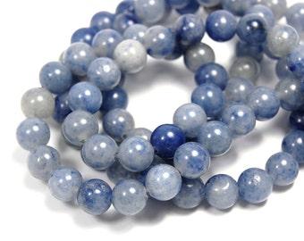 "Two 15.5"" strands Blue Aventurine Beads 8mm"