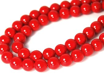 """Two 15.5"""" strands Mountain Jade Red 8mm"""
