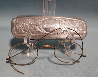 Vintage B and Co Eyeglasses and Etched Metal Case