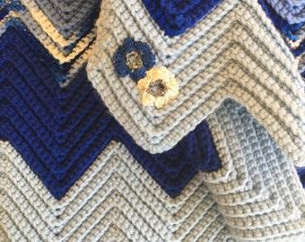 Handmade Crochet Blue Baby Blanket