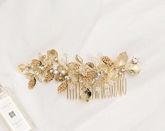 Radiant Gold Leaf & Crystal Hair Comb