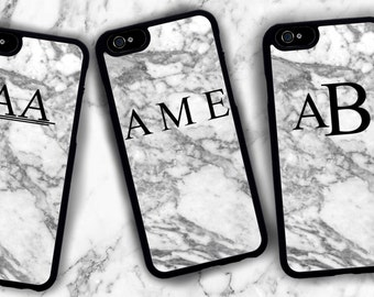 Personalized Marble Print Iphone Case. Initials / Name. Iphone 6 / 6s / 6 plus / 7 / 7 Plus Phone case Plastic / Silicone Rubber