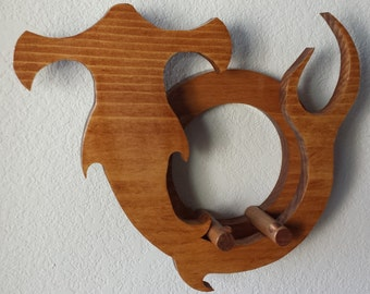 Ukulele wall mount hanger - Hammerhead Shark - walnut finish