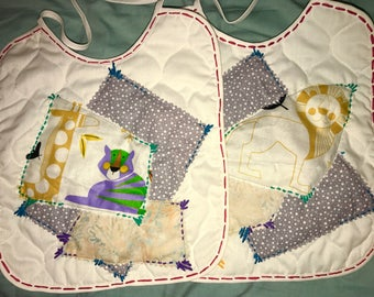 Set of Two Hand Sewn Baby Bibs