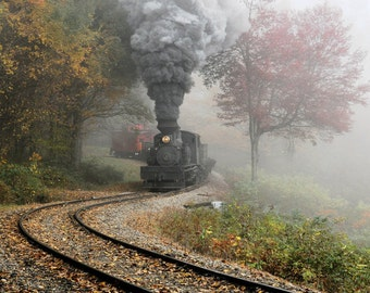 Steam Engine Photo 18x42 Inch Cass Scenic Railroad Archivable Print