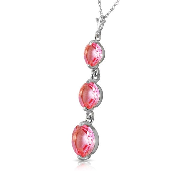 Gold  NECKLACE With NATURAL Pink TOPAZ