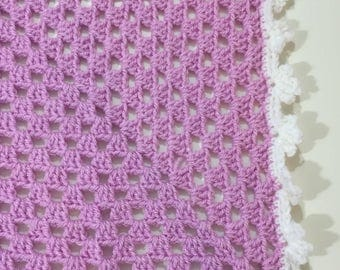 Crochet Baby Blanket Clematis & White
