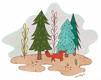 Woodland Fox Print 10x8