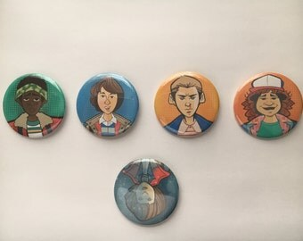 Stranger Things Pins (set of 5 + Bonus Season 2 pin)