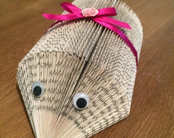 Handmade book folded hedgehog