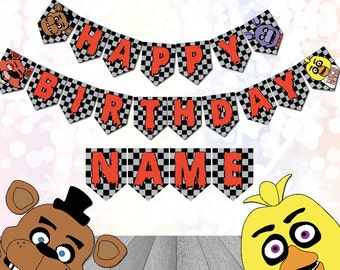 Five Nights at Freddys Party Supplies Bunting customizable Digital Download Printable FNAF Birthday