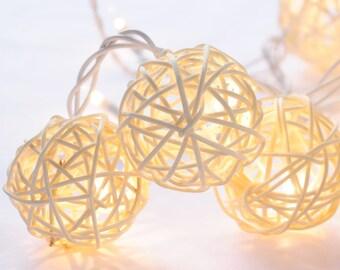 20 White Tone Handmade Rattan Balls String Fairy Lights Patio Party  Wedding Floor Table  Xmas Hanging Gift Christmas Home Garden Decor