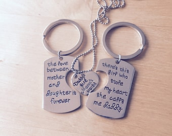 "Mother-daughter necklace daddy's girl mother daughter necklace gift ""Family ties""-set for the whole family, two key chain"