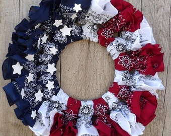 Bandanna Americana Wreath, patriotic, red, white, and blue, 4th of July, summer, American flag, bandana, Independence Day, Summer wreath
