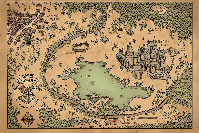 a map of hogwarts and surrounding areas
