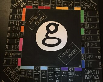 Garth Brooks Inspired Monopoly Game Board, Cards, and Pieces