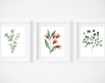 Set of 3 or 4 posters of eucalyptus and Russian doll illustrations / floral / size 5 x 7 / minimalist / watercolor