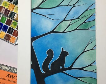 The Squirrel Tree- matted painting. (Original)