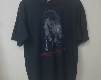 Vintage 80s Johnny Winter Blues Rock T-shirt/Johnny Winter Original Concert Rock The Nation Tour'87 Rare T-shirt