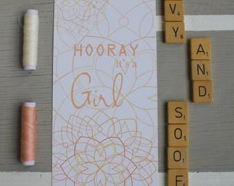 Card ' Hooray it's a girl '