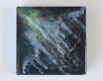 Birch Wood Panel Acrylic Space Painting Stardust #8