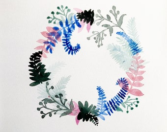 Winter WREATH, watercolor 21.7/28