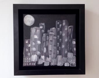 "CLEARANCE - small fantastic painting ""the city of Ethnopolis"
