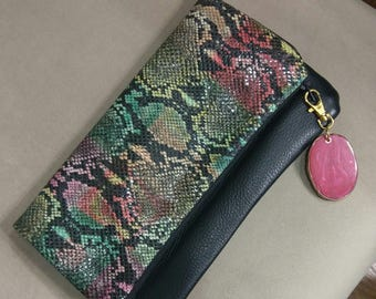 Leather Snake Print Multicolored & Black Hand Bag