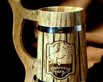 The Prancing Pony Personalized wooden Beer Mug  (23oz) wedding gift Gifts For Him Anniversary Gifts For Husband Anniversary Gifts For Men