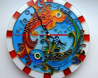 Wall clock Fish.Stained glass.Hand painted.Wall clock Zodiac fish.Unique wall clock.A gift to mom.Glass clock,Fish glass wall decor.