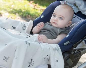 Blue organic baby Stroller Blanket ,baby blanket, organic blanket stars print origami prints, stroller cover, newborn stars print, baby gift