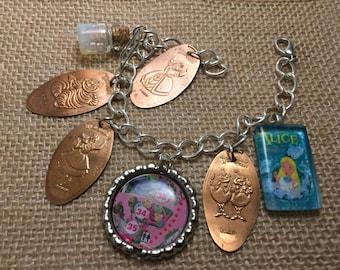 Alice in Wonderland Pressed Penny Disneyland Charm Bracelet