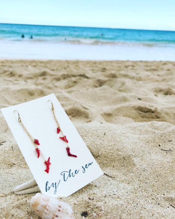 14KGF Red Coral earrings