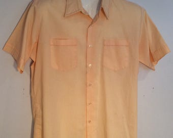 VanCort mens short sleeve shirt salmon stitching vintage 1970's  double pocket front theater costume gift