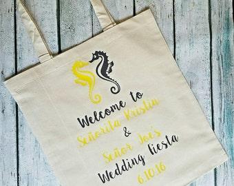 Wedding Tote Bag Welcome Bags Beach Seahorse