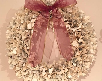 """14"""" Book Page Wreath with Bow"""