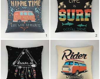 Hippie pillow Decorative pillow Throw pillow Cushions Printed pillow Boho style keep moving all sizes Surf Pillow case Boho pillow ride pack