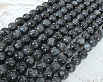 Black Moonstone 6mm, full strand, Larvikite beads, black labradorite beads, 6mm larvikite beads, gray gemstone, 6mm black labradorite