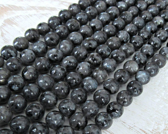 Black Moonstone 6mm, full strand, Larvikite beads, black ...