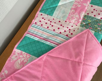 Quilt for baby, turquoise/pink