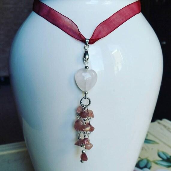 Rose quartz and organza ribbon necklace