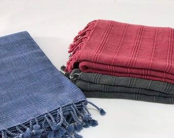 Set of 3 turkish towel set , Turkish bath  towel, beach towel, gym towel, surf towel, yoga-  pool, peshtemal, hammam towel, vintage style
